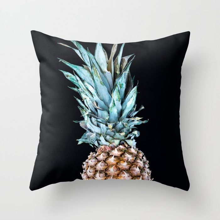 Pineapple On A Black Background #decor #society6 Throw Pillow