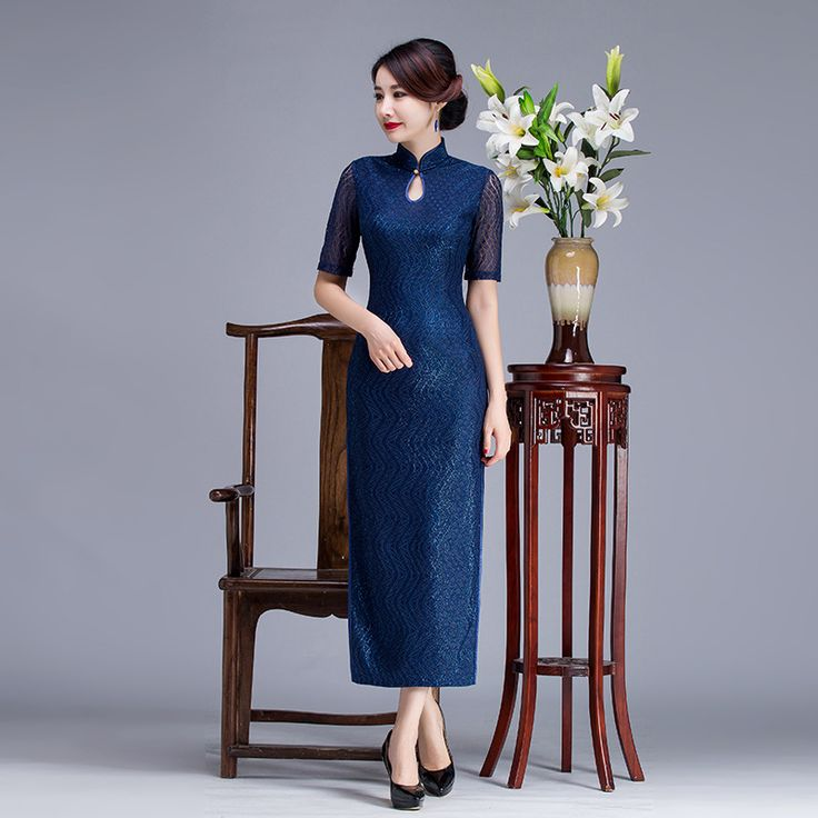 Blue High Quality Chinese Ladies Lace Long Cheongsam Mandarin Collar Qipao Elegant Floral S TO XXL