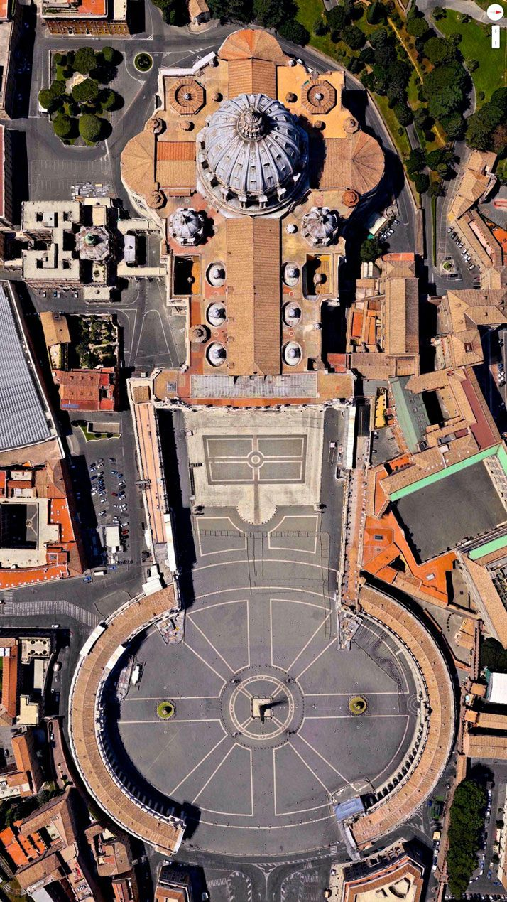 Daily Overview: Captivating Satellite Images of Earth | http://www.yatzer.com/daily-overview Easter Sunday, St. Peter's Basilica, Vatican City, Italy.