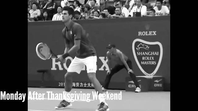 Who else has a problem focusing (and balancing) today? 😅😜😄⠀ #ThanksgivingWeekend #Djokovic #MondayAfterThanksgiving #backtowork #mondaymood #monday #mondayfunday #novakdjokovic #djokernole #longweekend #MondayBlues #tennis #tennisfail #delpotro #shanghaimasters