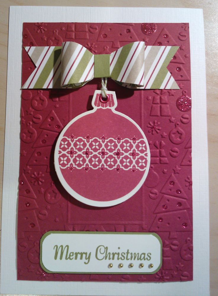 Bauble Christmas card - SU cardstock and stamp, Couture Creations embossing folder.