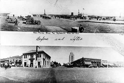Two images of the intersection of Van Nuys Boulevard and Sylvan Street, illustrating the growth of the city. The top image is dated February 22, 1911. The bottom image, dated July 18, 1934, shows Van Nuys City Hall, also known as the Valley Municipal Building in the background. It was built in 1932. Los Angeles Valley College Historical Museum. San Fernando Valley History Digital Library.: Built In, The Angel, Municip Building