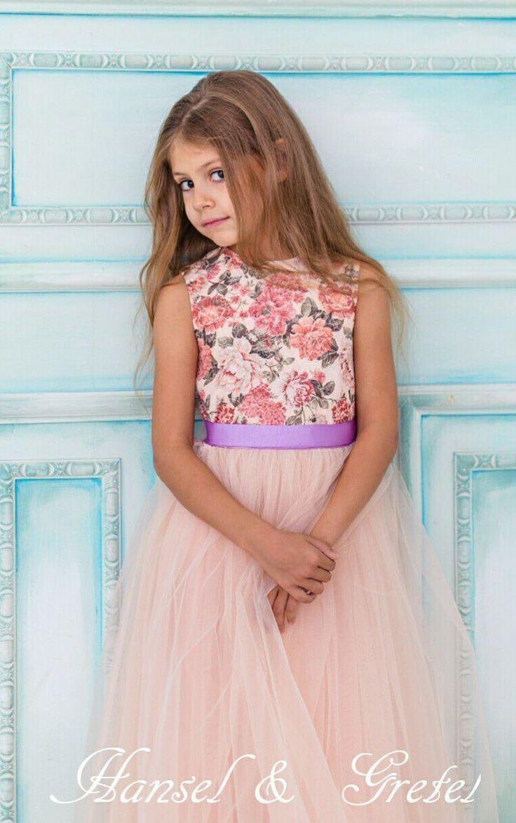 Cotton Dress with Fatin Skirt for Girls | Хлопковое платье с фатиновой юбкой для девочки