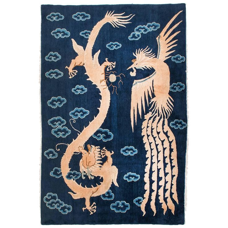 Magic Chinese Carpet With Dragon And Phoenix