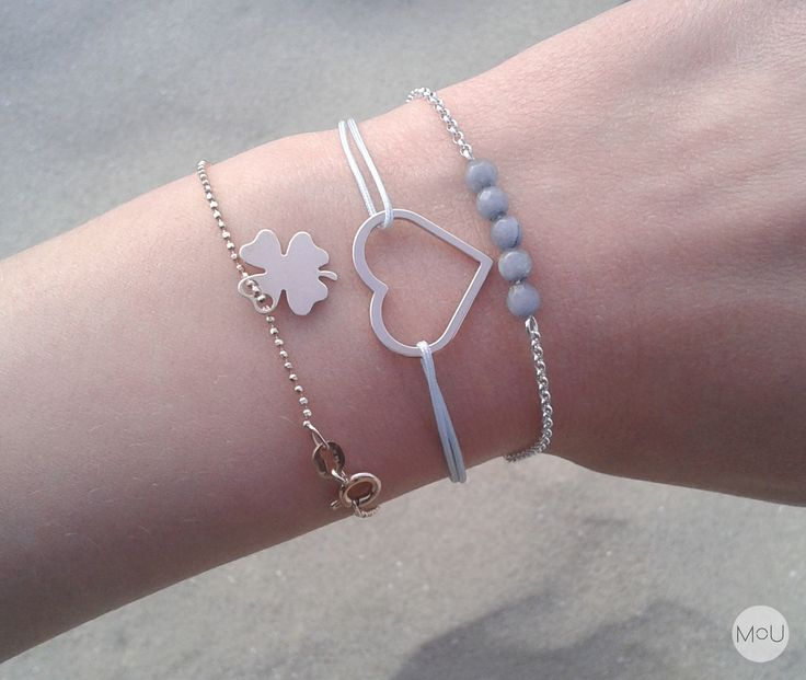 Celebrity, minimal bracelets with clover, heart and turquoise jade ♡ by MOU