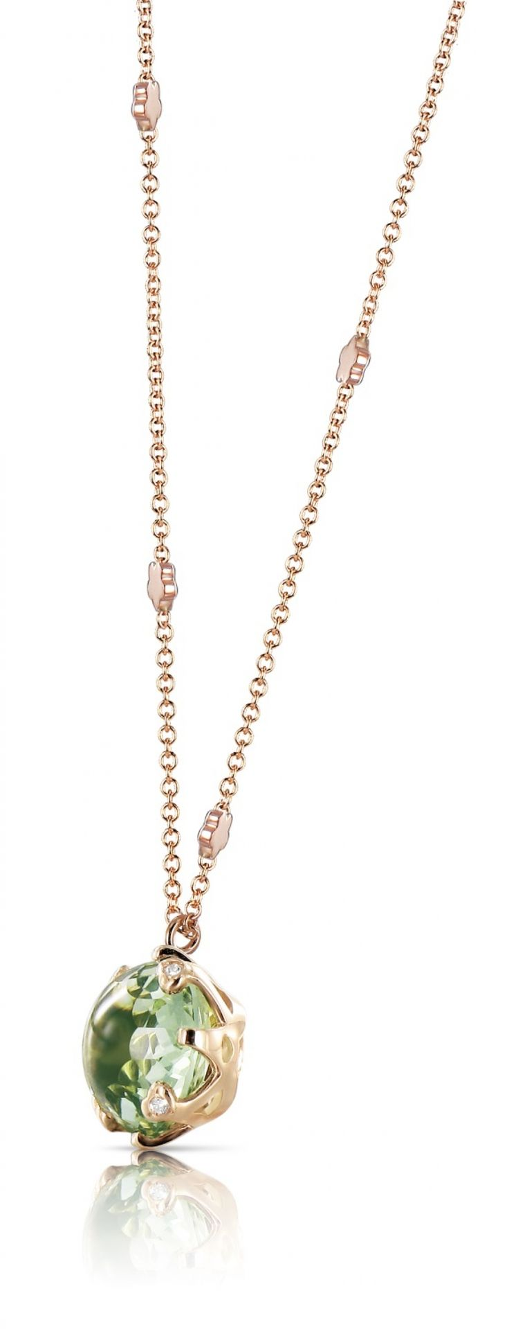 Pasquale Bruni Necklace Sissi collection rose gold with prasiolite and diamonds 14724R - Casa Capone Jewelry