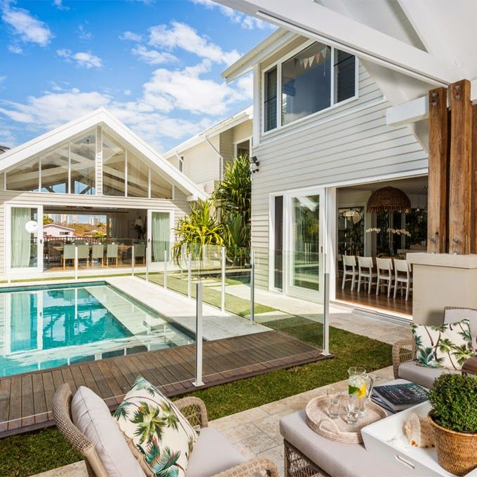 Pool enclosure. Safety without obstructing the view of the pool. House of Turquoise.