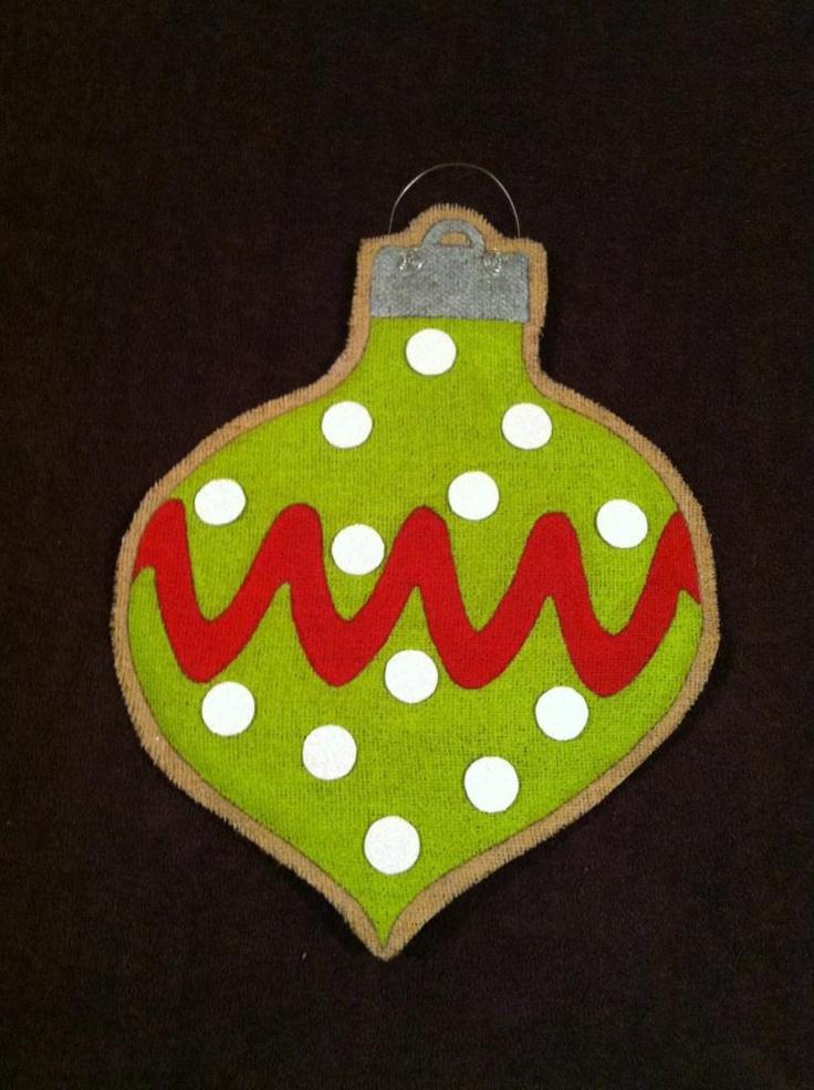 Burlap Door Hanger - Christmas Ornament. $25.00, via Etsy.
