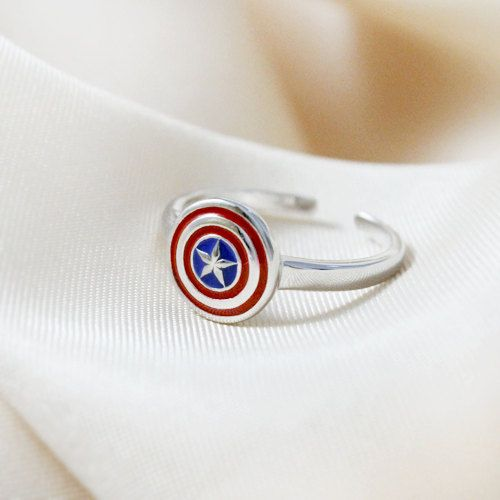 Engagement Ring with the First Avenger Shield (Sterling 925 Silver) Superhero Geek jewelry