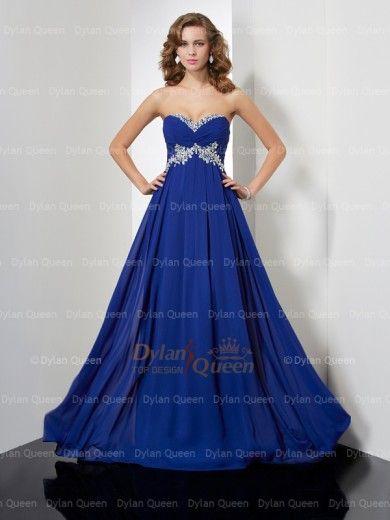 A-Line/Princess Sweetheart Beading Sleeveless Sweep/Brush Train Chiffon Dress
