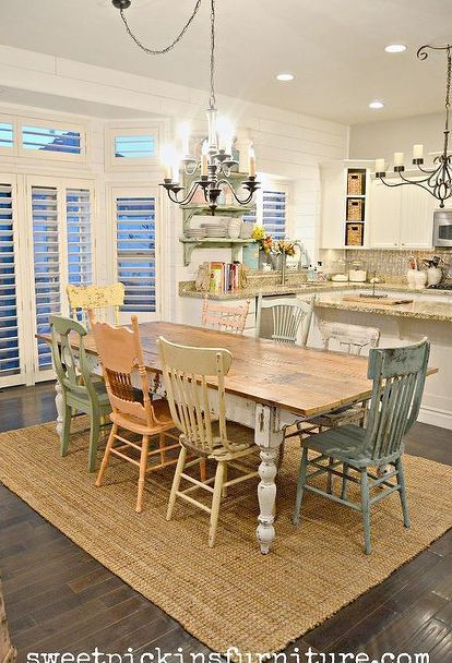 diy chippy farm table w mismatched chairs, diy, kitchen design, painted furniture, woodworking projects