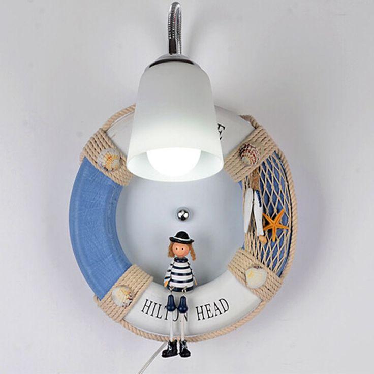 Navy Wind Dolls Children Room Mediterranean Wall Light E27 Lamp 110V-220V Indoor Lighting Kids Bedroom Lamp Led Wall Lights #Affiliate