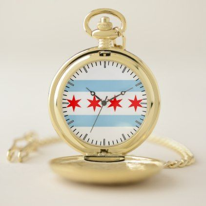Patriotic Pocket Watch with Flag of Chicago - elegant gifts gift ideas custom presents