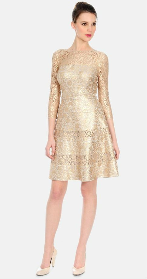 Kay Unger gold lace dress