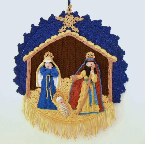 Crochet Nativity PDF Pattern, Ornaments, Wall decor; I want to make this!