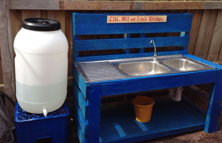 Recycled Pallet Outdoor Kitchen we made for our kids - can't wait for mud pies :0)