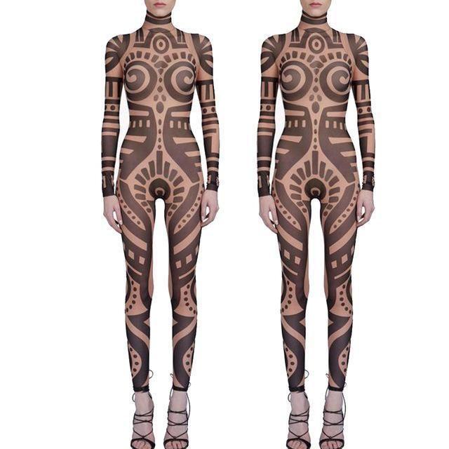 Costume Womens clothing Tribal Tattoo Temporary Tattoos Mesh leggings TRIBAL Womens Pants Womens Printed Leggings Halloween Gift