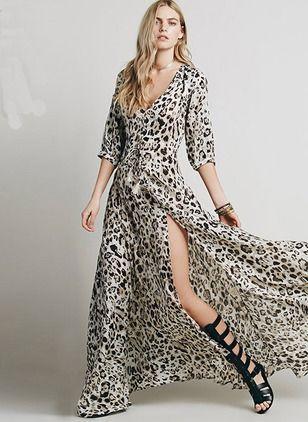 Polyester Leopard Halbarm Maxi Sexy Kleider