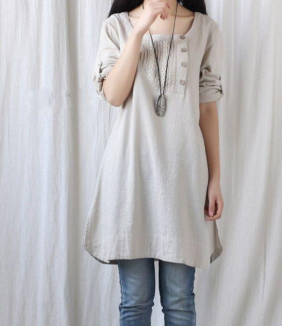 Spring women tunic blouse long shirt dress by MaLieb on Etsy