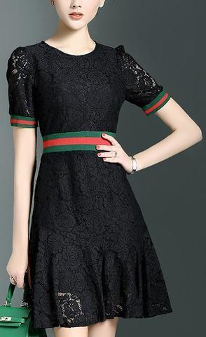 Contrast Lace Knit Dress-Black