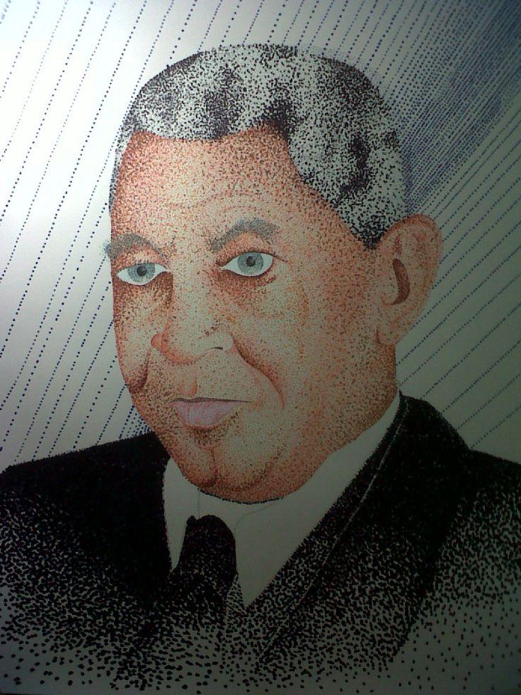 Retrato del Maestro Luis Beltran Prieto Figueroa Rotuladores de color sobre papel 50x80 cm