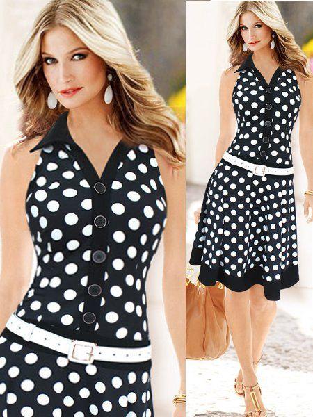 Solapa de breasted único punto vestidos lunares retro vintage vestido para las mujeres