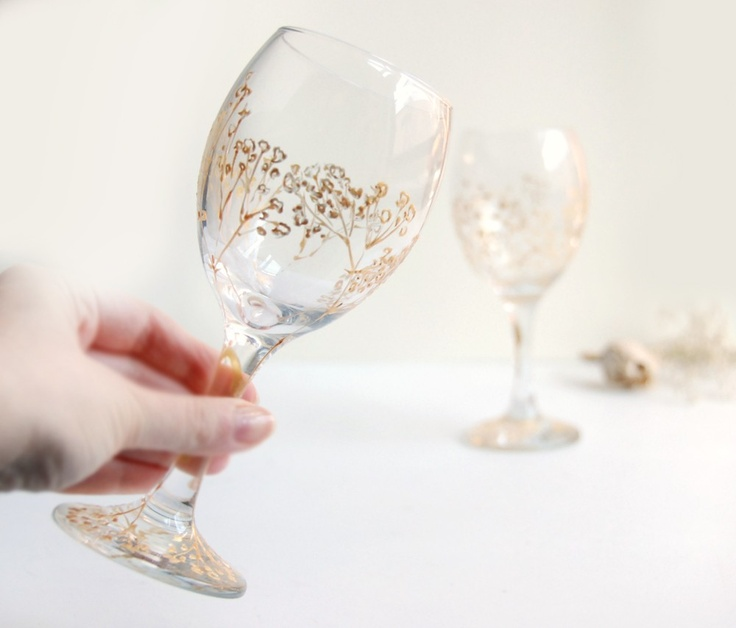 Gold Painted Wine glasses Baby's Breath Wedding by yevgenia