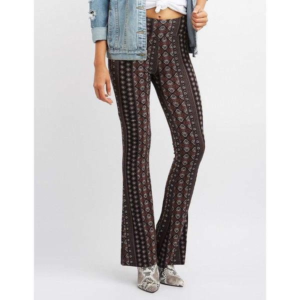 Charlotte Russe Printed Flare Pants ($20) ❤ liked on Polyvore featuring pants, multi, paisley pants, flare trousers, mid rise pants, boho wide leg pants and paisley wide leg pants
