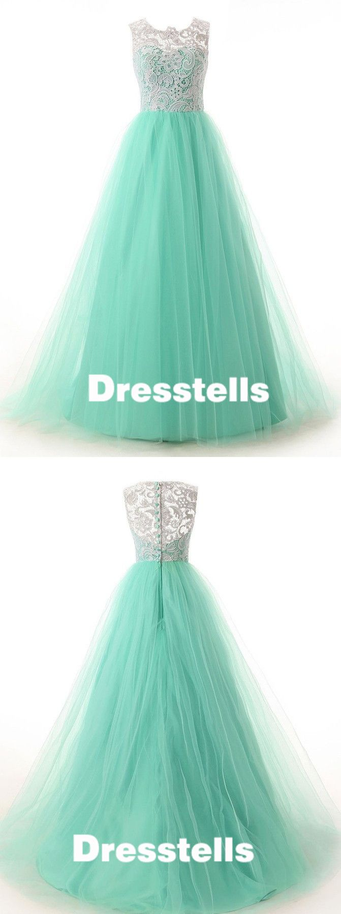 2016 long mint green tulle prom dress with white lace, ball gown, cheap prom dress