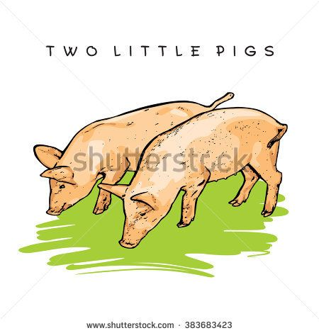 Two Little Pigs. Colored Vector Illustration.