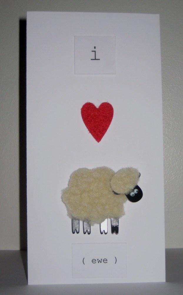 I Love Ewe Sheep Valentine Card Cute Stuff Pinterest