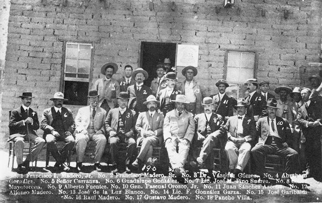 Francisco Madero and Pancho Villa among others in El Paso public library 1911