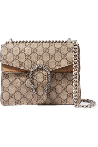 af423ead7d1 Gucci - Dionysus Mini Printed Coated-canvas And Suede Shoulder Bag - Brown