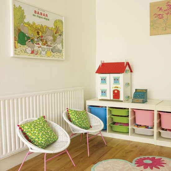 Colourful child's playroom, vintage and modern pieces
