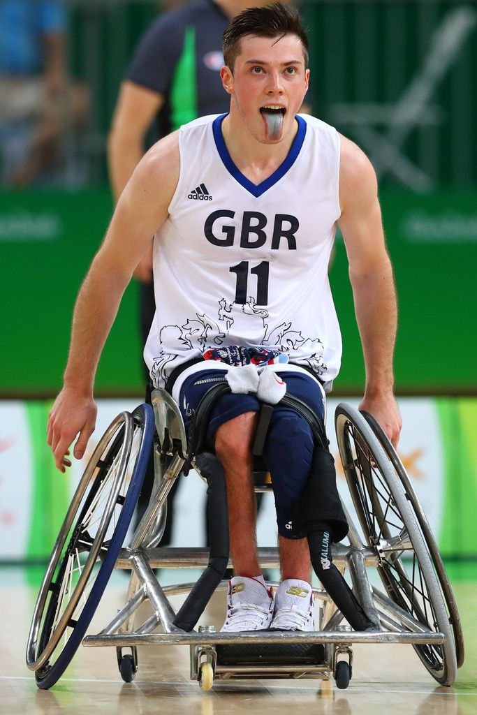 Phil Pratt of Great Britain celebrates after scores two points during Wheelchair basketball match Germany against Great Britain during Rio 2016 Paralympics at Carioca Arena 1 on September 11, 2016 in Rio de Janeiro, Brazil.