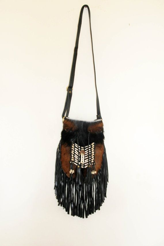 Boho fringed leather bag done with leather and  by etnikabali