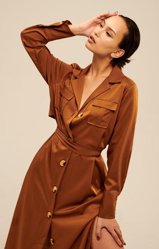 b89dc525ef4 Атласное платье-тренч в актуальном стиле сафари H.I.T.   2000001168783-0