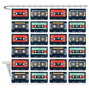 Cassettes Pattern Shower Curtain from cafepress store: AG Painted Brush T-Shirts. #cassettes #pattern #shower #curtain
