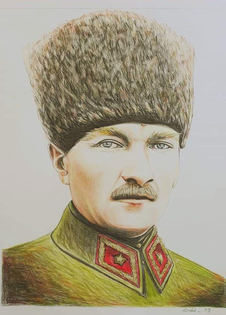 Ataturk Kuru Boya Partre Calismam Portre Unluler Cizilecek Seyler