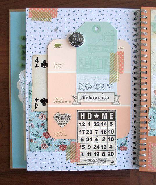 Smashbook odds + ends || paint swatches + playing cards + scraps of decorative paper etc…