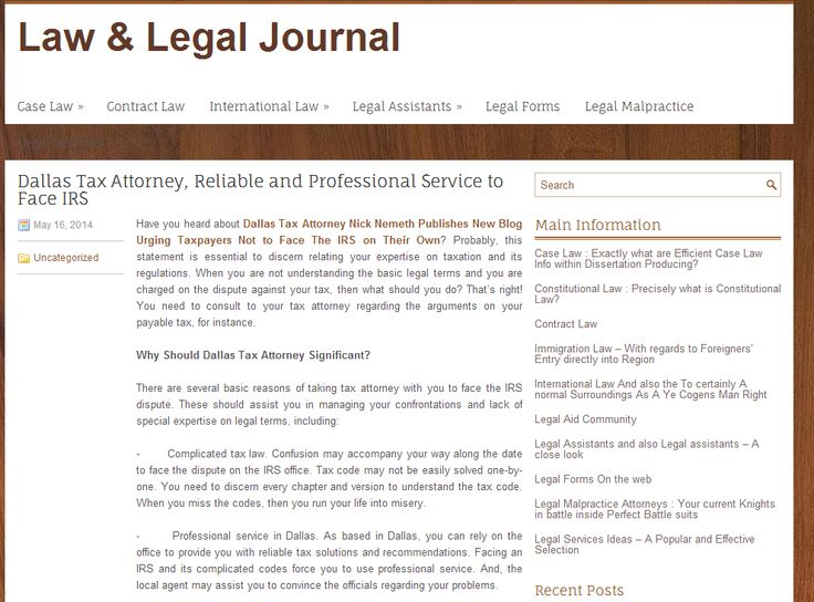 http://governancejournal.org/dallas-tax-attorney-reliable-and-professional-service-to-face-irs.html  - Dallas Tax Attorney Nick Nemeth Dallas Tax Attorney Nick Nemeth Publishes New Blog Urging Taxpayers Not to Face The IRS on Their Own? Probably, this statement is essential to discern relating your expertise on taxation and its regulations