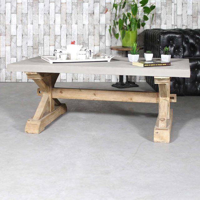 Cette table basse bois massif avec effet béton Arpègedonnera du caractère à votre salon. Dimensions (HxLxP) : 46 x 120 x 70 cm. Livraison standard au pied du domicile sur créneau journalier.