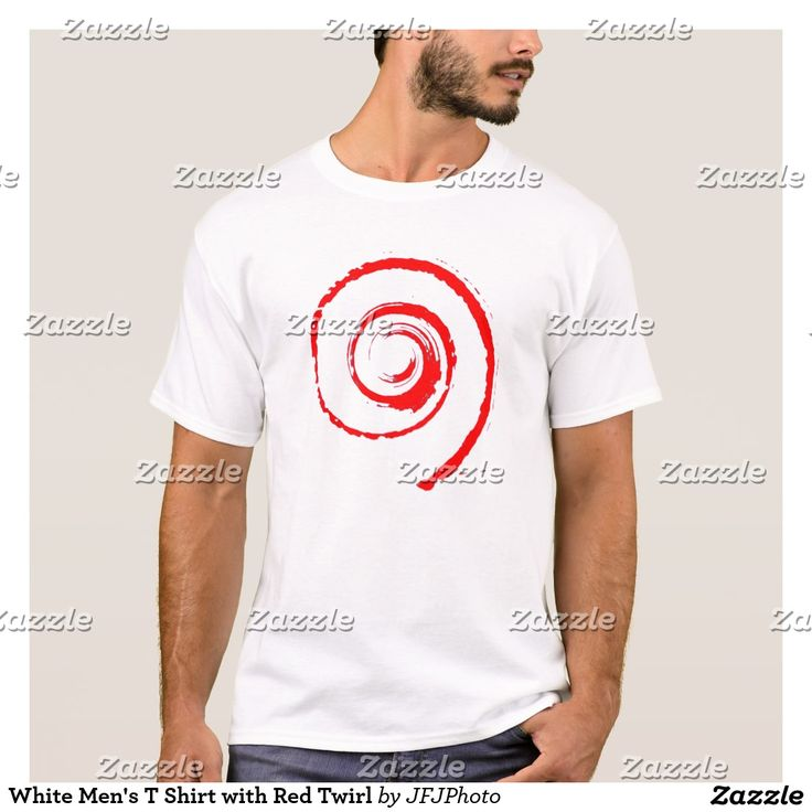 White Men's T Shirt with Red Twirl