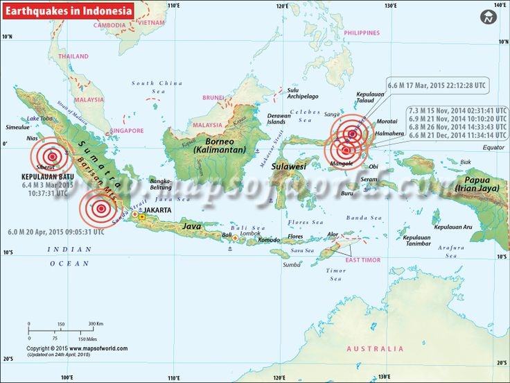 Indonesia Earthquakes Map, Areas Affected by Earthquakes in Indonesia