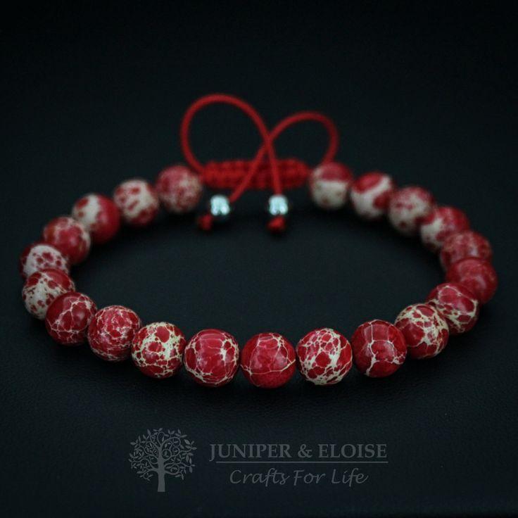 Red Bracelet, Unisex Bracelet, Adjustable Bracelet, Womens Jewelry, Gift Bracelet, Christmas Gift by JuniperandEloise on Etsy