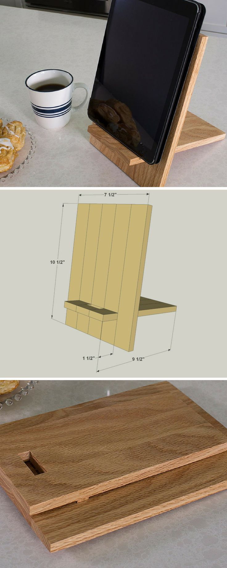 This handy stand holds your tablet so you don't have to, and puts it at a perfect angle for use. You can even store the stand flat by removing the leg and locking it into the face. Get the free DIY plans at buildsomething.com