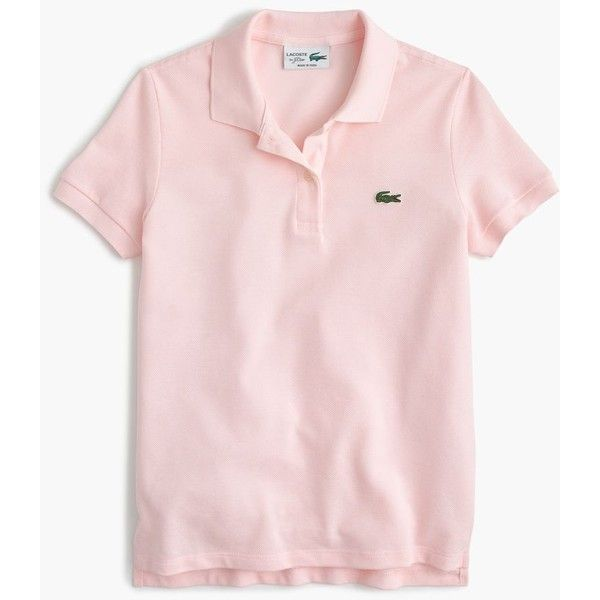 Lacoste for J.Crew Polo Shirt ($98) ❤ liked on Polyvore featuring tops, shirts, retro polo shirts, pink polo shirts, sports polo shirts, logo shirts and slim fit polo shirts
