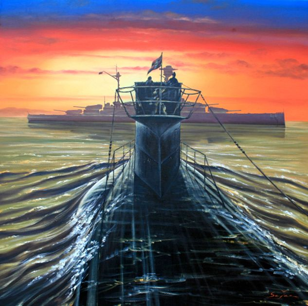 U-Boats ~ Günther Prien's U-47 Type VII B out on patrol. Just six weeks after the start of the war Germany had its first hero. Prien attacked and sank the Royal Naval battleship Royal Oak in Scapa Flow. U47 is one of the most famous German u-boats of World War II. In this painting U47 is depicted advancing on HMS Royal Oak. ~ BFD