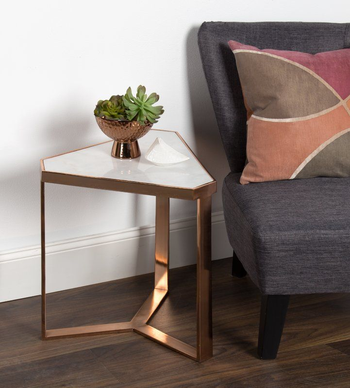 Perera Marble Triangle End Table Gold Side Table Living Room Living Room Side Table Triangle End Table Small occasional tables living room