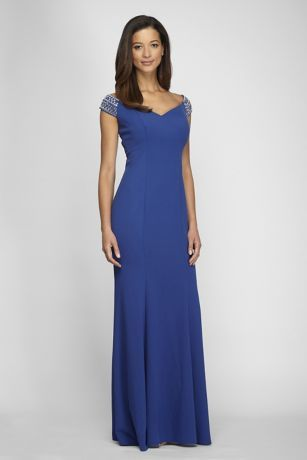 Geometrically beaded off-the-shoulder sleeves give this jersey trumpet gown a touch of sparkle, as vertical princess seams flatter your figure.   By Alex Evenings  Polyester, spandex  Back zipper; fully lined  Dry clean  Imported